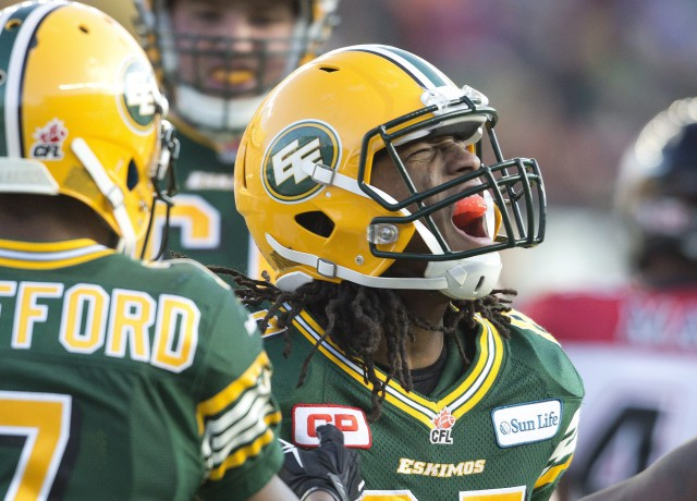 Edmonton Eskimos' Derel Walker (87) celebrates a 2 point conversion against the Calgary Stampeders during first half action of the West Divison final in Edmonton, Alta., on Sunday November 22, 2015. THE CANADIAN PRESS/Jason Franson.