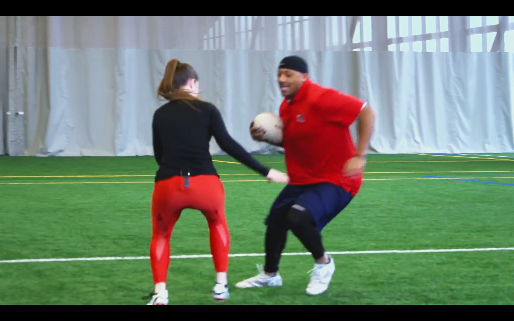 John Bowman plays rugby with the best female player in the world!