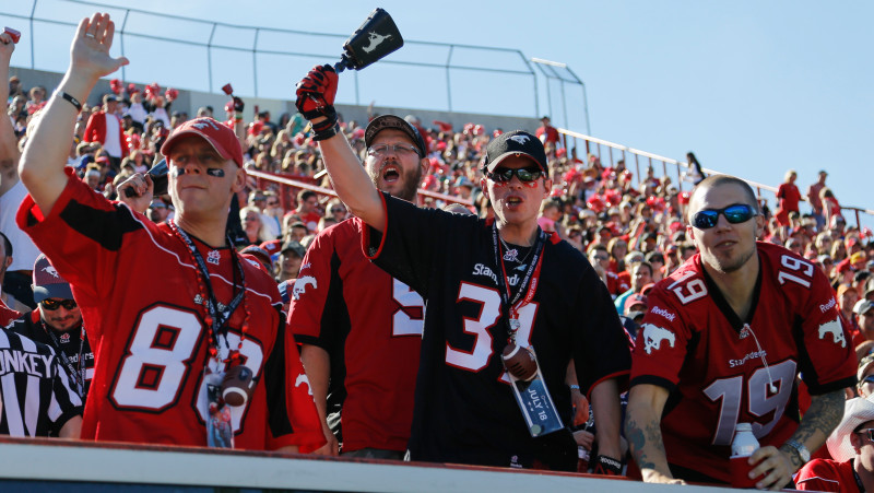 Stamps fans cheering at a game on July 18, 2015 (Photo by Jenn Pierce)