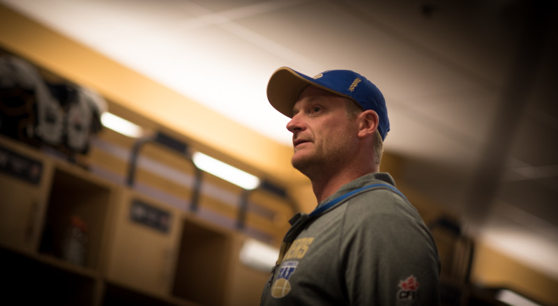 Winnipeg Blue Bombers head coach Mike O'Shea before the Banjo Bowl game against the Saskatchewan Roughriders at Investors Group Field in Winnipeg, MB. Saturday, September 12, 2015. (PHOTO: JOHANY JUTRAS)