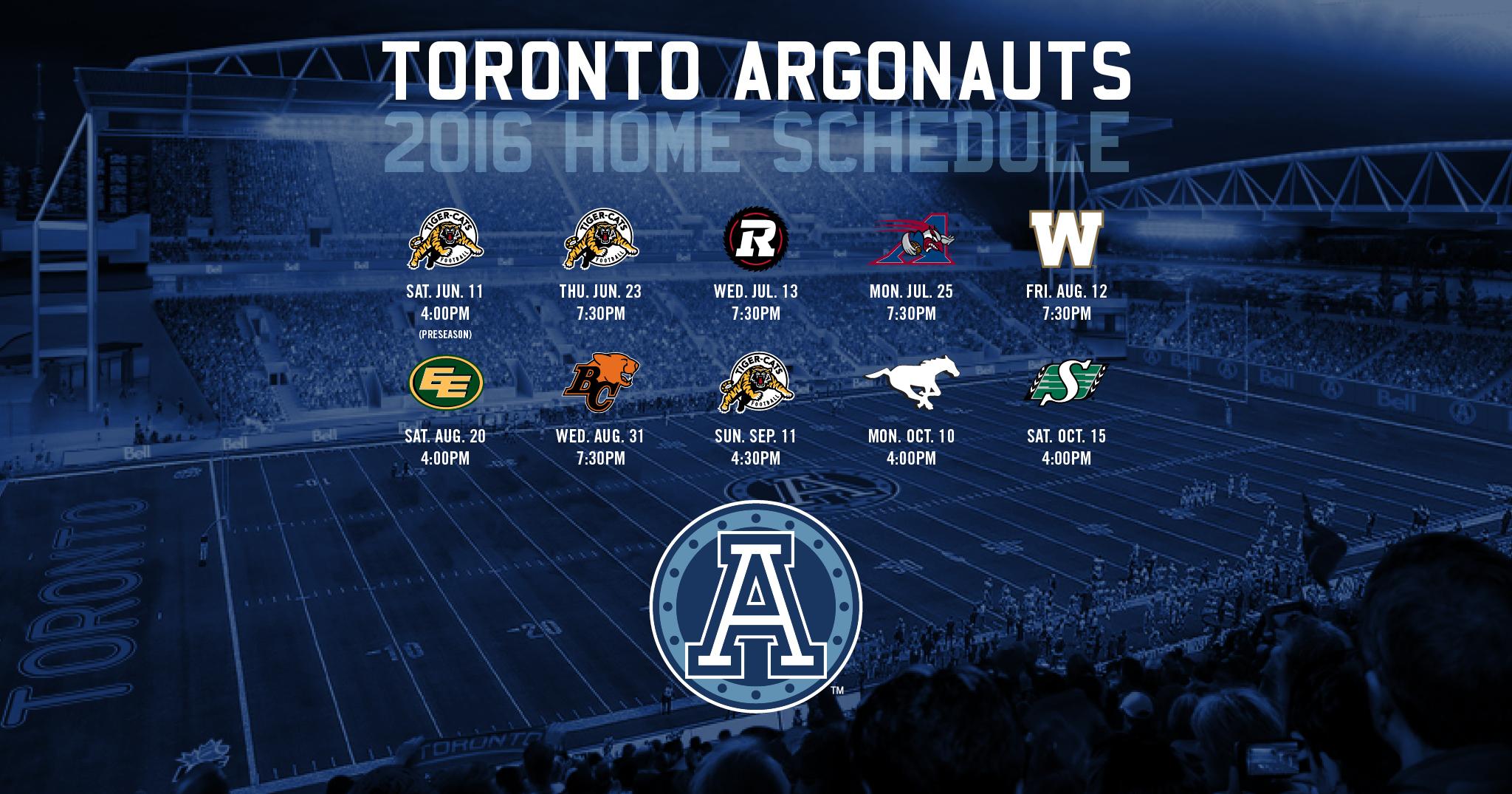 2016 Schedule now Available - Toronto Argonauts