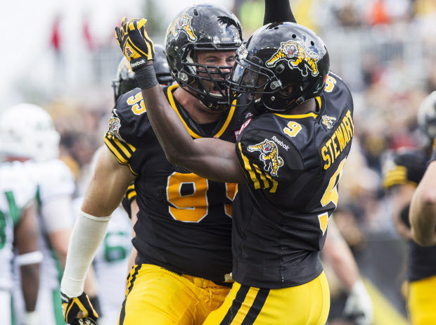 Hamilton Tiger-Cats defensive tackle Brian Bulcke, left, celebrates his sack against the Saskatchewan Roughriders with teammate Brandon Stewart, right, during the first half of their CFL game at Tim Hortons Field in Hamilton, Ont., Sunday, September 14, 2014. THE CANADIAN PRESS/Aaron Lynett
